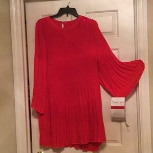 Red chiffon party dress Christmas or tunic NWT